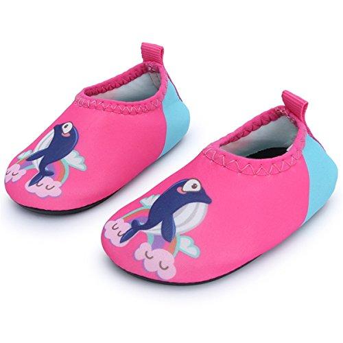 JIASUQI Kinder Kleinkind Säugling Mode Barfuß Aqua Wasser Haut Schuhe Für Strand Sand Schwimmen Aerobic, Rosa Dophin 12-18 Monate