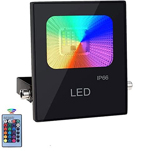Nicetai - Proyector LED para exterior (10 W, 16 colores y 4 modos, clase impermeable), IP66 para árbol de jardín, fiesta en casa (1 unidad x 10 W)