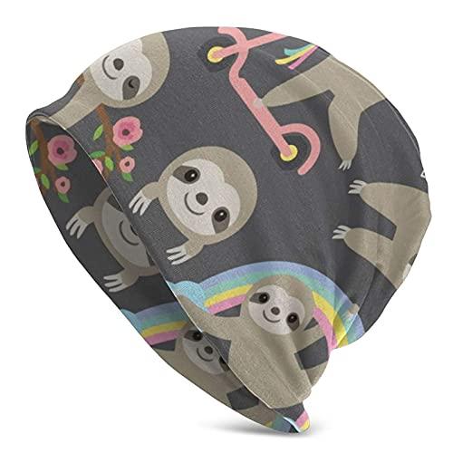 Beanie Hat Cute Sloths Hombres Mujeres Sombreros Antiarrugas Absorción del Sudor Gorra de Calavera Se Adapta a la mayoría de la Cabeza Invierno Primavera Hip Hop Gorras Negro