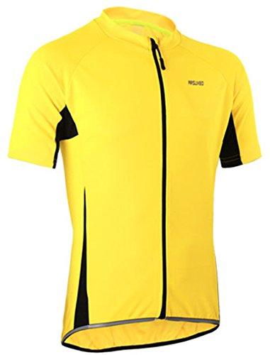 Radtrikot Kurzarm Herren Atmungsaktiv Fahrrad Trikot Full Reißverschluss Schnell Trocken Radsport MTB Fitness Jersey (EU XL (Tag XXL), Gelb)
