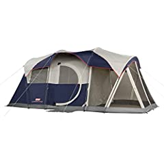 6-person camping tent with built-in illumination for family or group trips LED system offers three brightness settings for overhead interior light Attached 9 x 6 ft. screen room offers bug-free area for relaxation Spacious interior has room for 2 que...