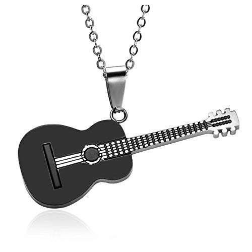 Collares Colgante Joyas Popular Música Creativa Colgante De Guitarra Hombres S Hip-Hop Rock Accesorios De Moda Banquete De Moda Joyería 45Cm