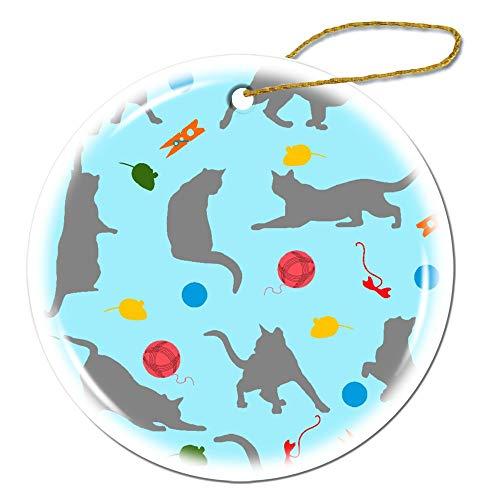 Mesllings Gatos atrapa ratones juego de caricatura abstracto Ornamento especial - Adorno de Navidad personalizado para niños - Exclusivo decoración de día festivo adornos de regalo - personalizado redondo porcelana ornamento