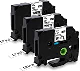 MarkField TZe-231 TZ231 Cintas de etiquetas de repuesto compatible con Brother P-touch etiquetadora para PT- H101C H100LB/R H105 H108 1000 1010 1080 1250, negro sobre blanco, 12mm x 8m