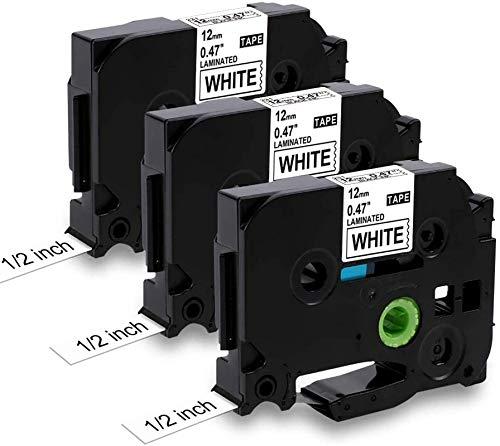 Nastro per Etichette MarkField Compatibile sostituzione di Brother P-touch TZe-231 TZ Nero su Bianco per Brother P touch PT-1000 PT-1010 1090 H105 H100LB/R H108 D200 2030VP, 12mm x 8m, 3Pack
