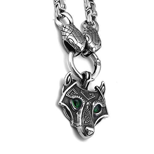 Collar de acero inoxidable del norte de Europa, cabeza de serpiente, ojo negro, ojo verde O'Tinoli cabeza colgante collar joyería de los hombres
