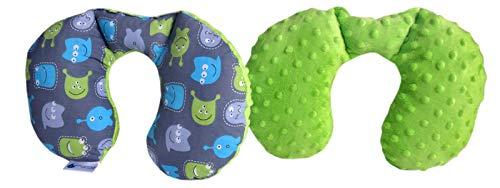 Medi Partners nekkussen kinderen nek steun 100% katoen/Minky Baby nekkussentje voor auto kinderwagen autorit reizen slaap nek kussen sluimerrol (creaties met groene Minky)