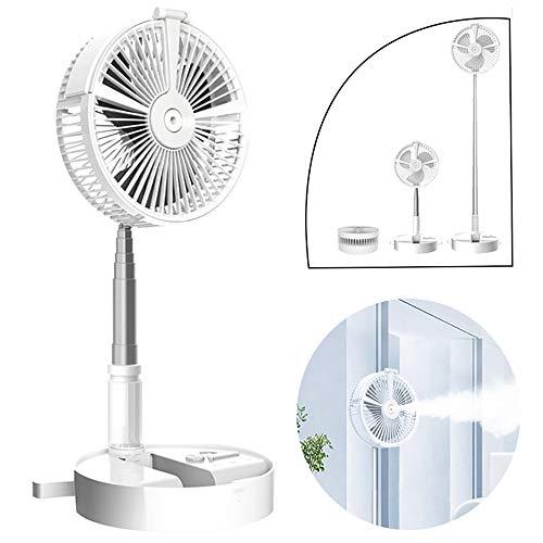 Mini Ventilador De7200mAh BateríA USB RefrigeracióN Recargable, PortáTiles PortáTil Ventilador De NebulizacióN,3 Velocidades Incorporado,Ajustable Agua PulverizacióN Ventilador Con Luz Nocturna,White