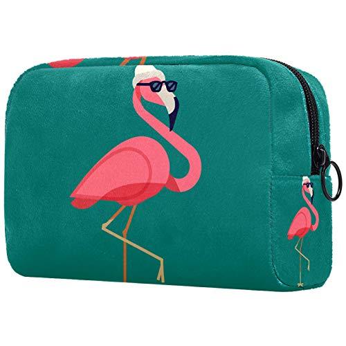 Neceser de Maquillaje Estuche Escolar para Cosméticos Bolsa de Aseo Grande Gafas de Sol Flamingo Wear