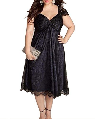 Mengmiao Mujer Vestido de Flores Encaje Talla Grande V-Cuello Vestidos de Fiesta Negro 4XL