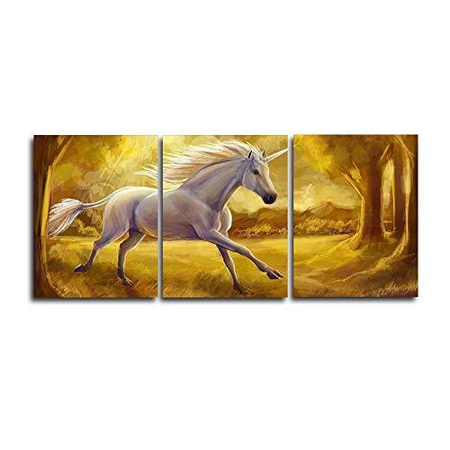 aoyukf 3 Panel White Pegasus Animal Poster en afdrukken Abstract Canvas Kalligrafie Schilderij Wandkunst Home Living Room Decor-Frameloos-35cmx50cmx3