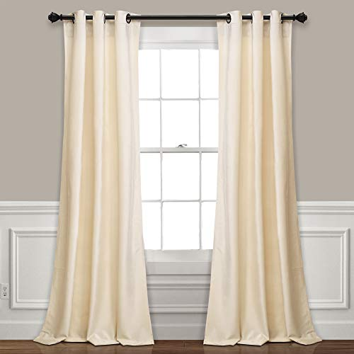 "Lush Decor Prima Velvet Curtains Color Block Room Darkening Window Panel Set for Living, Dining, Bedroom (Pair), 84"" L, Ivory"