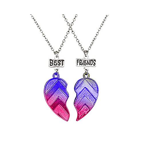 MJARTORIA Collar de plata para mujer y niño, diseño de mariposa, arcoíris, con grabado personalizado, 2 unidades, Aleación de metal.,