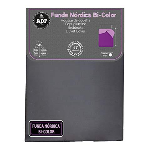 ADP Home - Funda nórdica Bi-Color, Calidad 144 Hilos, 12 Combinaciones, Cama de 90 cm - Color: Gris y Gris Perla