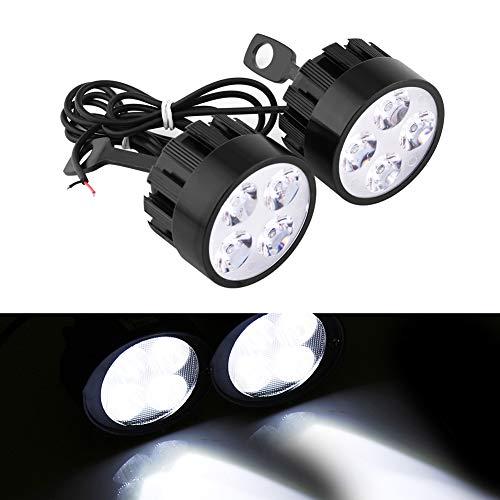 2 focos led para motocicleta, 12 V, 24 W, 4 led, universal, impermeable, para motocicleta, faro delantero de conducción, antiniebla, foco de luz para scooter, luces auxiliares