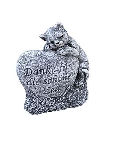 Grabschmuck Katze Danke für die schöne Zeit, Frost- und wetterfest, massiver Steinguss