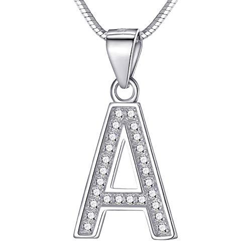 Morella Damen Buchstabenhalskette Halskette und Anhänger Buchstabe A aus 925 Silber rhodiniert 45 cm lang