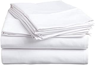 Luxxure Care 100% Egyptian Cotton 1000 Thread Count 4 Piece Sheet Set White King 12 Inch Deep Pocket