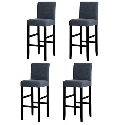 LANSHENG Bar Stuhlhussen, Stretch Abnehmbarer waschbarer Stuhl Schonbezug für Short Swivel Dining Chair Rückenlehne Barhocker Stuhl (Grau,4 Stück)