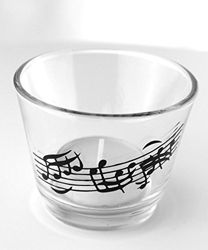 mugesh Weiße Kerze im Glas Notenlinie - Schönes Geschenk für Musiker