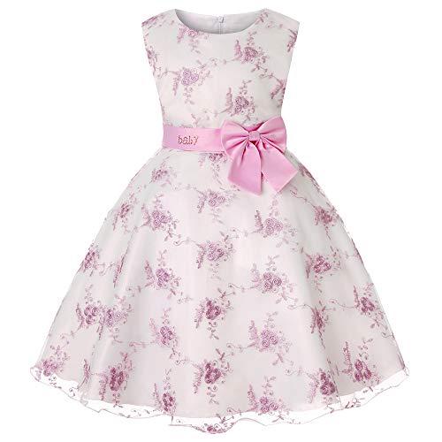 Cichic - Vestito da bambina elegante da principessa, per matrimoni, compleanni, stile formale, 2-10 anni Abito rosa. 8-9 Anni