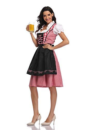 Women Oktoberfest Dirndl Costume Plaid German Beer Festival Cosplay Bavarian Dress Halloween Fancy Dress (L, Black)