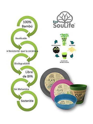 Eco soulife BW12-0011P Taza Bambú Reutilizable Biodegradable Y ...