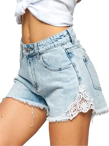 BOLF Mujer Pantalón Corto Vaquero Jeans Denim Shorts Bermudas Pantalón de Algodón Pantalón de Ocio Corto Rotos Tejano Verano Slim Fit Estilo Urbano JK687 Azul XS [G7G]