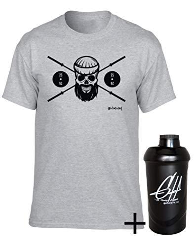 GO HEAVY Herren Fitness Sportshirt mit Protein Shaker BPA-Frei   Männer Gym T-Shirt   Aufdruck Barbell Skull Grau M