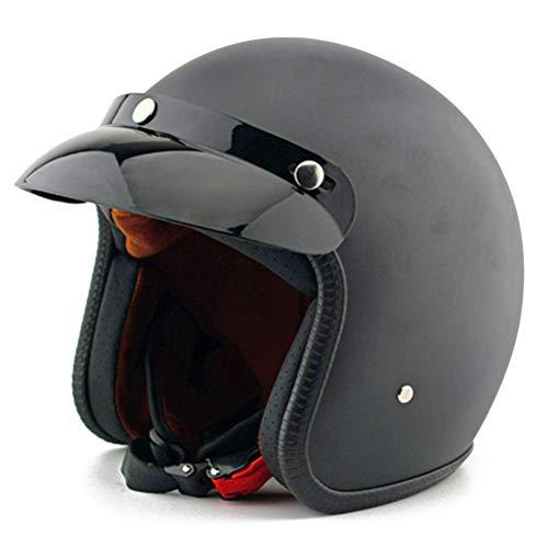 Jethelm mit Sonnenblende Herren Motorradhelm Vintage Scooter Cafe Racer Moto Helm 3/4 Jethelm