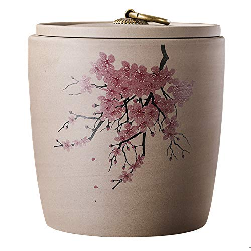 Ceramic Food Storage Jar, Art Style Kitchen Food Storage Canisters with Airtight Lid for Coffee Serving, Chocolate, Cookie, Tea and More Flesh.b