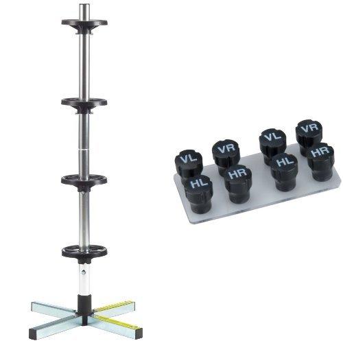 Cartrend 7730056 Felgenständer mit Reifenschutzhülle, bis 225 mm Reifenbreite und Unitec 84736 Radmerkerset, 8-teilig