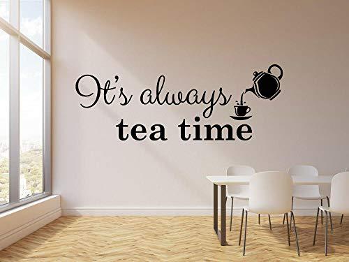 Pegatina de vinilo para pared, taza para la hora del té, tetera, citas de cocina, decoración de pared para café, papel tapiz 77x29cm