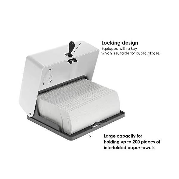Anself – Dispensador de Toallas de Papel Manual, Zig-Zag, Montado
