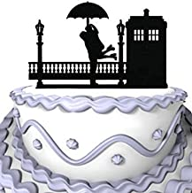 Meijiafei Wedding Cake Topper - Tardis Rainy Day Hugs Doctor Who for Engagement Anniversary Decoration