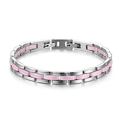 JewelryWe Schmuck Damen Armband Edelstahl Keramik I Rechteck Link Gliederarmband Armkette Armreif Pink Silber
