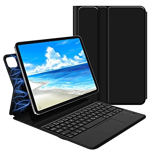 GOOJODOQ iPad Pro 11 キーボード ケース 2021&2020&2018通用 iPad Air4 10.9inch通用 Bluetooth キーボード付き iPad カバー 新型磁気吸着 ケース タッチパネル搭載キーボード 薄型 軽量 Apple Pencilの収納充電対応 角度調整 オートスリープ機能 シルク手触り ファション ブラック
