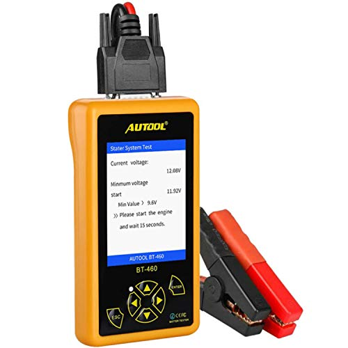 AUTOOL BT460 Automotive Battery Tester Support 12V & 24V Cars, Motorcycle, SUVs, Minivans, Heavy Duty Trucks & Boats with 4' TFT Colorful Display