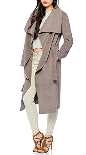 Kendindza Damen Mantel Trenchcoat mit Gürtel Lang Kurz dünner Stoffgürtel XS S M L (XS, Mocca Lang)