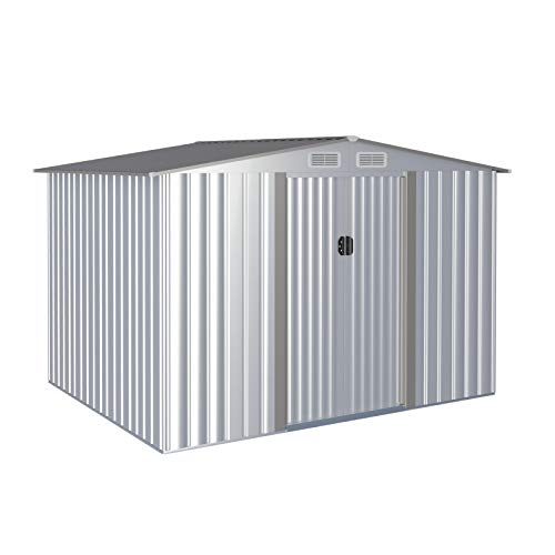 Aoxun 6' x 8' Metal Outdoor Garden Storage Shed Outdoor Tool House with Sliding Door for Backyard Garden Lawn Equipment (Without Floor Frame)
