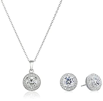 Amazon Collection Sterling Silver Cubic Zirconia Halo Pendant Necklace and Stud Earrings Jewelry Set
