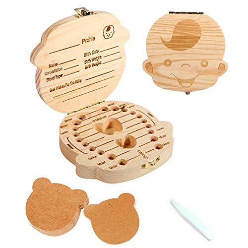 Caja de dientes para-caja de dientes de leche de bebé de madera maciza, caja de recolección de pérdida de dientes de leche de niño/niña, caja de recuerdo, el mejor regalo para bebés (boy)