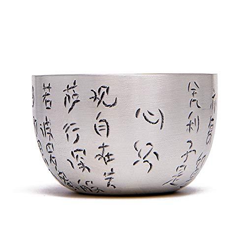 CRTTRC Budista Escritura de Plata Taza de té de Plata de Ley Hecho a Mano 925 del té de Plata Conjunto de la Taza de té de Plata Taza de té Tazón