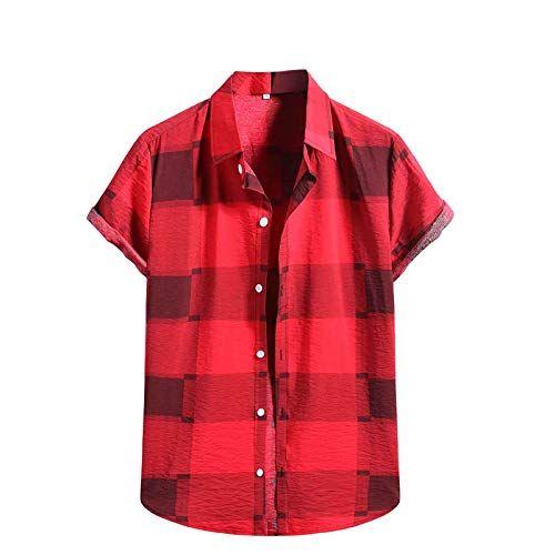 Mens Beach Blouse Short Sleeve Shirts Summer Cotton Linen Button-Down Blouse Tops Casual T Shirts Tees Tops (Red  L)