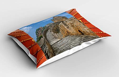 ABAKUHAUS China Funda de Almohada, Ruta de la Seda, Decorativa de Suave Microfibra Estampada Lavable, 80 cm x 40 cm, Multicolor