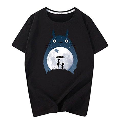 Bangtan Boys Unisex Totoro Printed T-Shirt Mens Womens Round Neck Cotton Tee Tops Black, Small