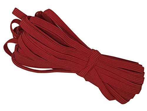 Bowtique Emilee 1/4' Elastic 10 yards Bundle, Braided Skinny Elastic for Face Masks, Headbands or Hair Ties (Red)