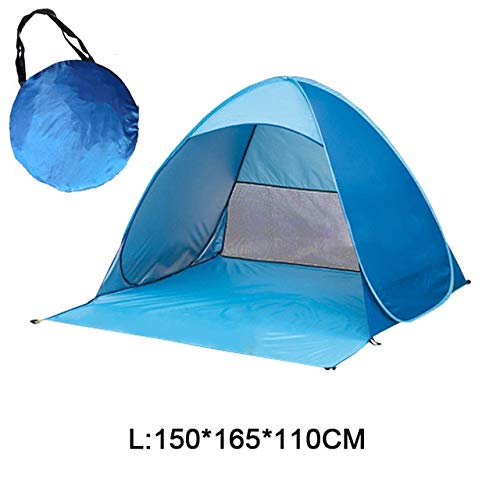 Mdsfe Beach Camping Tent Pop Up Automatic Open Family Ultralight Folding Tourist Fish Anti-UV Fully Sun ShadeTent 2-5 Persons XA164A-Blue DL
