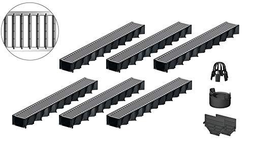 6x1m ACO Hexaline 2.0 Entwässerungsrinne Stegrost Stahl verzinkt Ablauf vertikal Bodenrinne Terrassenrinne
