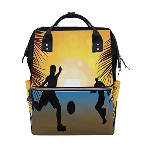 Bolsa de pañales para mamá con mayor capacidad para pañales de bebé, para playa, fútbol, puesta de sol, multifunción, mochila de viaje